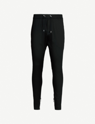 BALMAIN Zip-embellished cotton-blend jogging bottoms