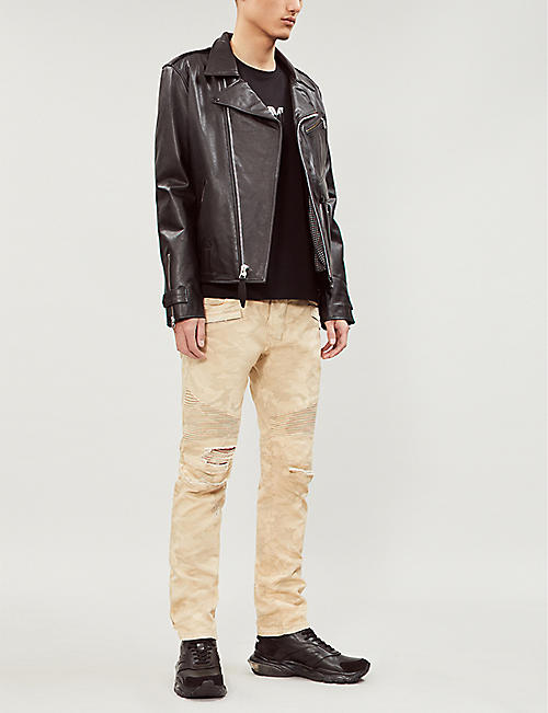 BALMAIN Camouflage-print ripped slim-fit tapered biker jeans
