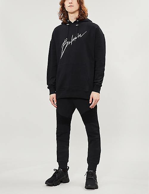 BALMAIN Biker-panel relaxed cotton-jersey jogging bottoms