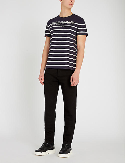 BALMAIN Logo-appliquéd regular-fit tapered jeans