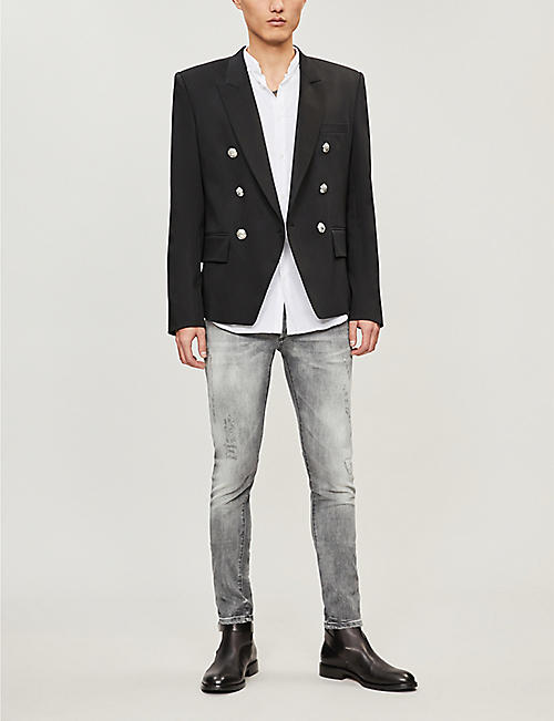 BALMAIN Double-breasted cotton-blend blazer