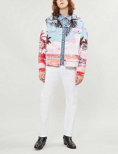 BALMAIN Tropical sunset-print denim jacket