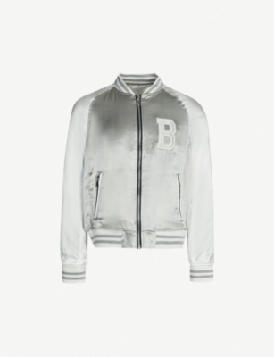 BALMAIN Appliquéd satin bomber jacket