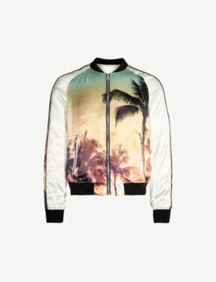 BALMAIN Palm tree-print satin bomber jacket