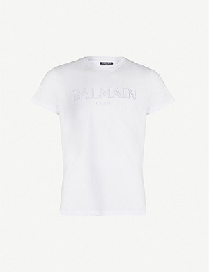 BALMAIN Logo-appliqué cotton-jersey T-shirt