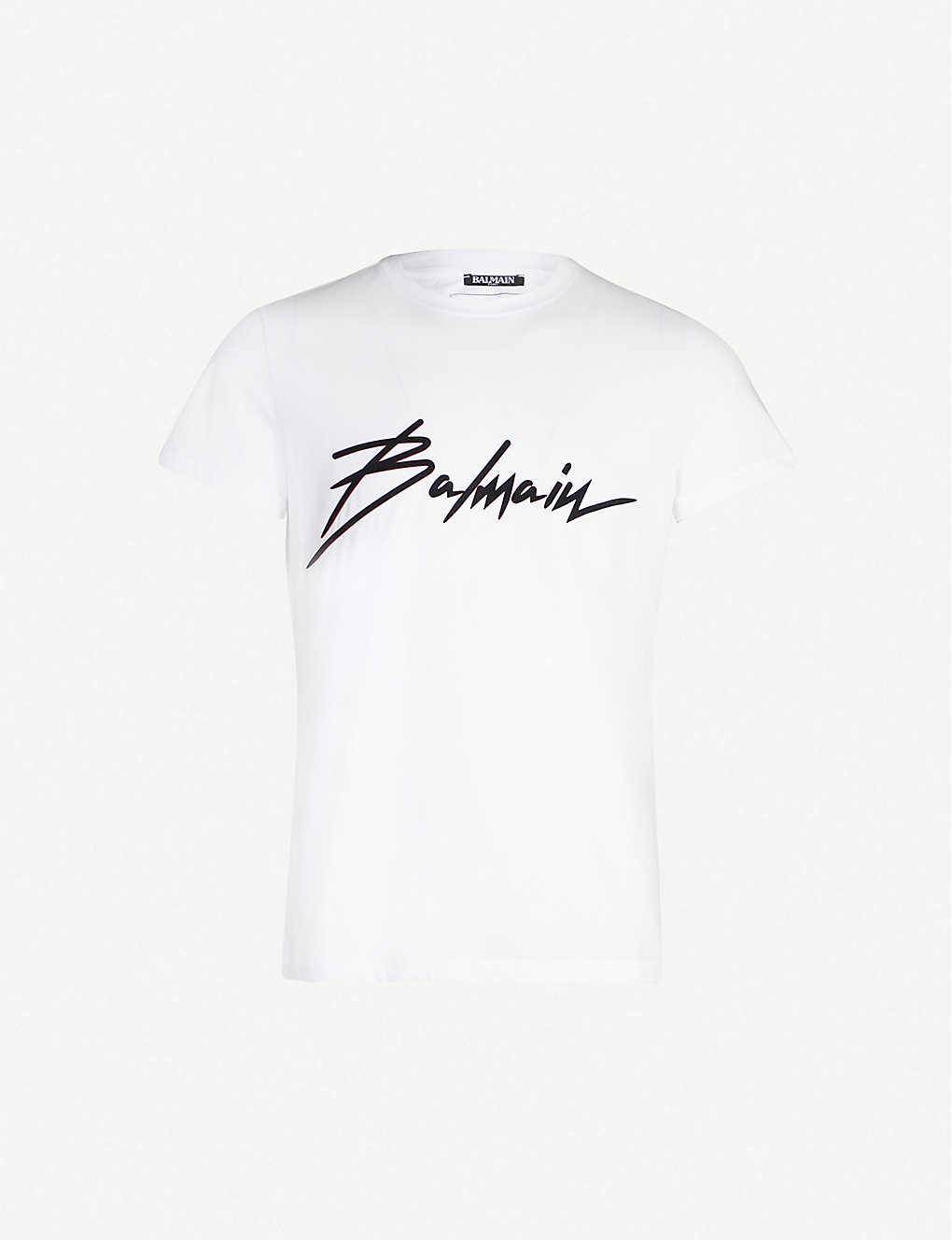 53102dd1b7b8 BALMAIN - Logo-flocked cotton-jersey T-shirt | Selfridges.com