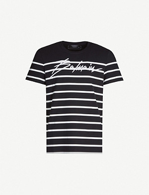 BALMAIN Striped logo-print cotton-jersey T-shirt
