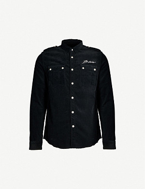 BALMAIN Logo-embroidered slim-fit corduroy shirt