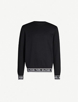 BALMAIN Logo-tape cotton-jersey sweatshirt