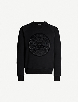 BALMAIN Logo-flocked cotton-jersey sweatshirt