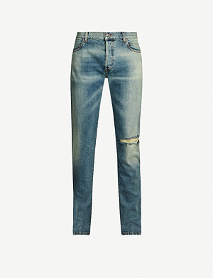 BALMAIN Ripped tapered jeans