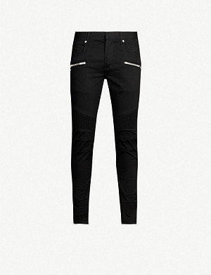 BALMAIN Ribbed-panel slim-fit jeans