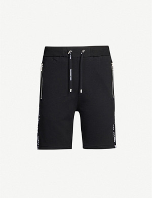 BALMAIN Logo-tape cotton-blend jersey shorts