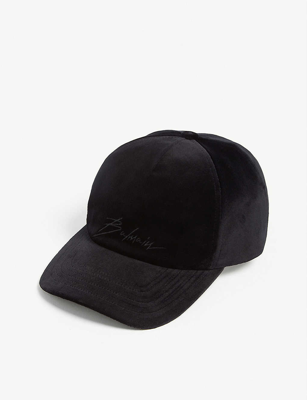 71d1eedbd67 BALMAIN - Logo cotton velour baseball cap   Selfridges.com