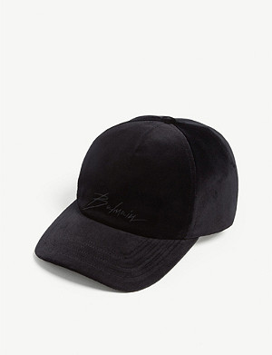 BALMAIN Logo cotton velour baseball cap
