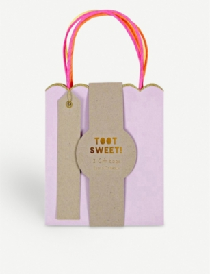 MERI MERI Toot Sweet small pastel and neon gift bags pack of three