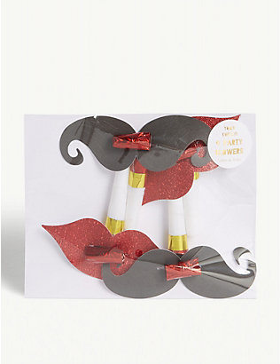 MERI MERI: Lips and moustache party blower wedding decorations pack of 4