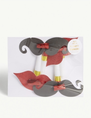 MERI MERI Lips and moustache party blowers pack of 4