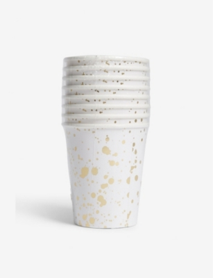 MERI MERI Gold Splatter paper cups pack of eight