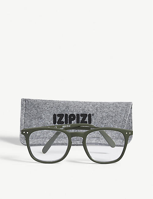 IZIPIZI LetMeSee #E khaki wayfarer +2.50 non-prescription glasses