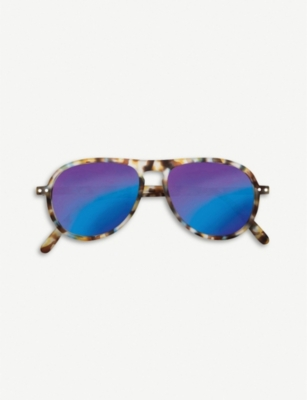 IZIPIZI #I tortoiseshell mirrored aviator sunglasses