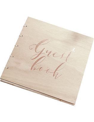 GINGER RAY: Wooden wedding guest book