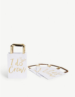 GINGER RAY: I Do Crew gold-foil wedding party bags pack of five