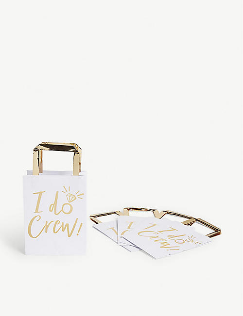 GINGER RAY I Do Crew gold-foil wedding party bags pack of five