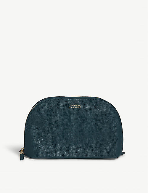PRINT WORKS Half-moon saffiano leather make-up bag