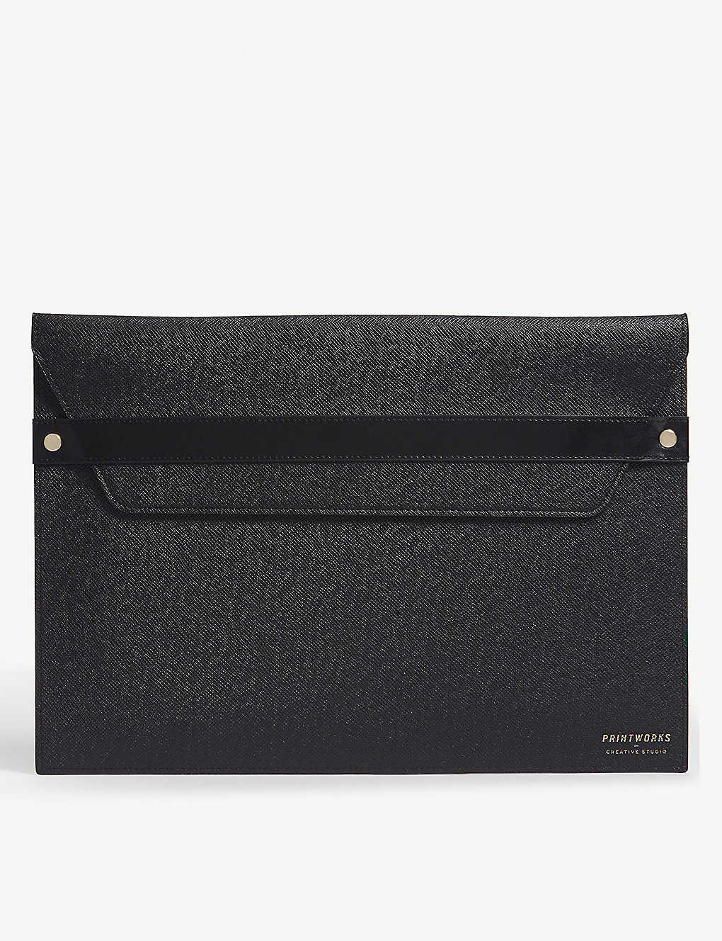 "PRINT WORKS: Textured faux leather 13"" laptop case"