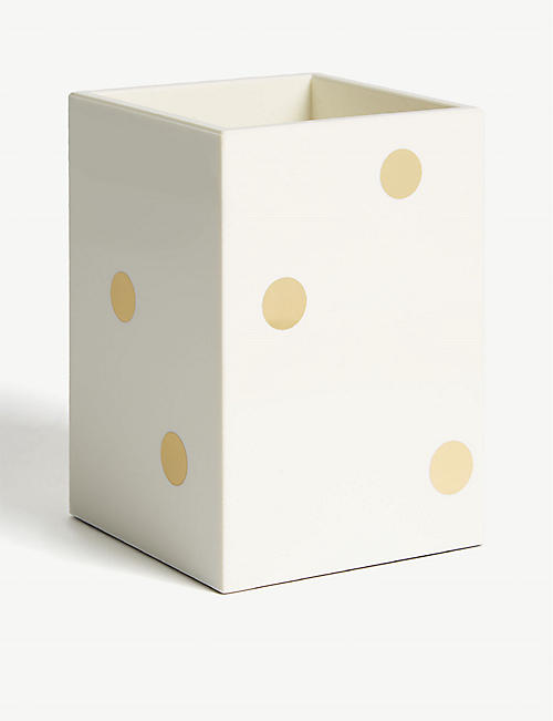 KATE SPADE NEW YORK Gold-toned foil dot pencil holder