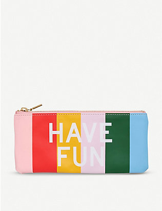 BANDO: Have Fun Work Hard striped faux-leather pencil case