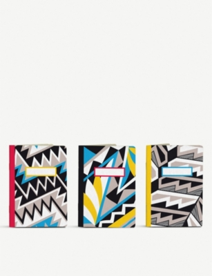 PAPIER TIGRE The 3 Anasazi mixed graphic-print A6 pocket notebooks set of three 14cm