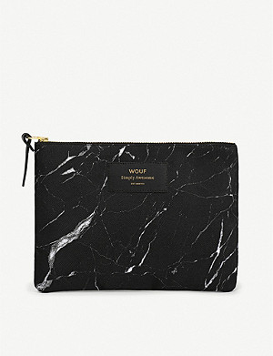 WOUF Marble-print zipped canvas pouch