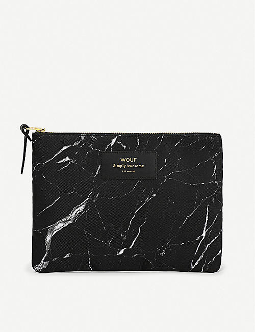 WOUF: Marble-print zipped canvas pouch