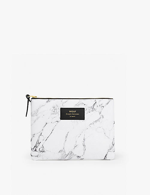 WOUF: Marble-print zipped canvas bag 16.5cm x 21.5cm