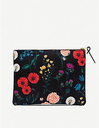 WOUF: Blossom-pattern zipped canvas case 16.5cm x 21.5cm