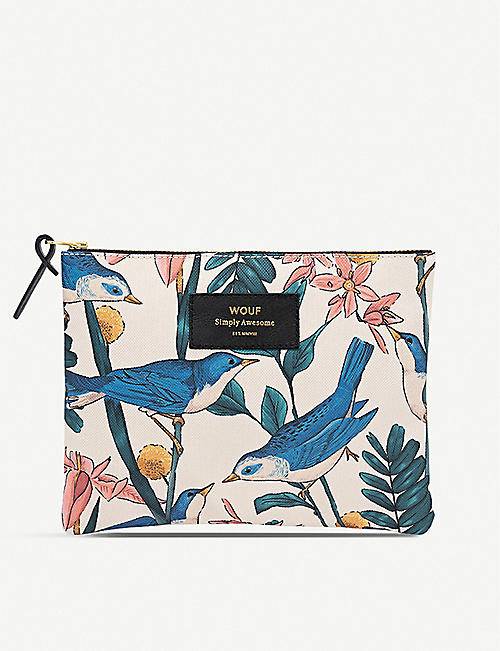 WOUF Bird-pattern zipped canvas bag 16.5cm x 21.5cm