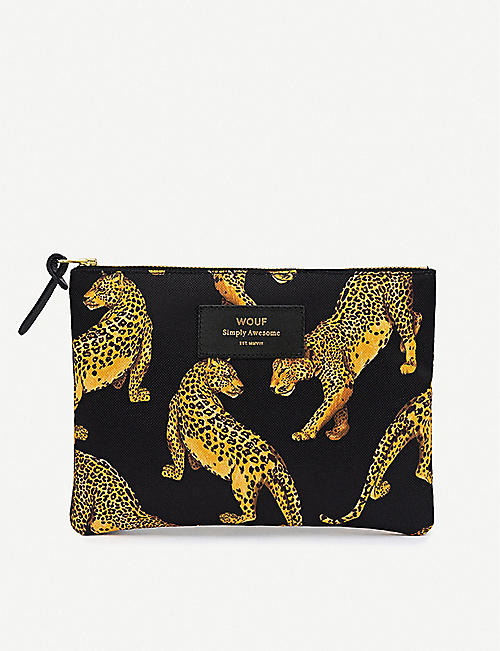 WOUF Leopard-pattern zipped canvas bag 16.5cm x 21.5cm