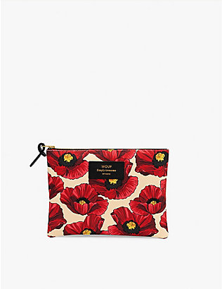 WOUF: Poppy-pattern zipped canvas case 16.5cm x 21.5cm