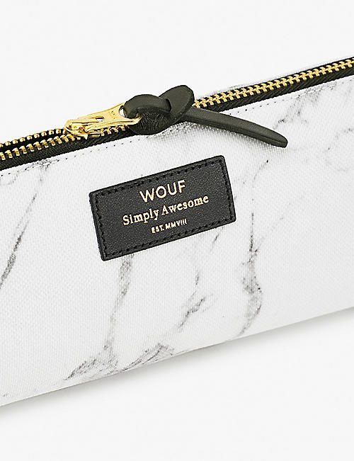 WOUF Marble-print canvas pencil case 21.5cm x 9cm