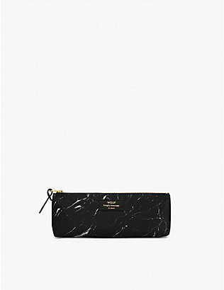 WOUF: Marble-print canvas pencil case 21.5cm x 9cm