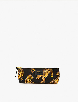 WOUF Leopard-print canvas pencil case 21.5cm x 9cm