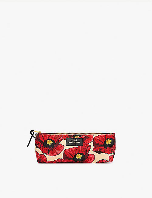 WOUF Poppy-print canvas pencil case 21.5cm x 9cm