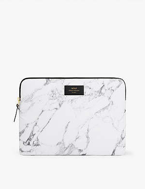 WOUF Marble-print canvas laptop case 13""
