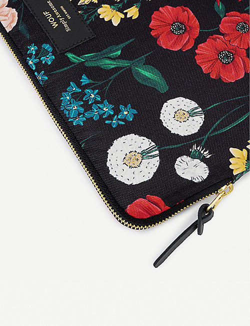 WOUF Blossom-print canvas laptop case 13""