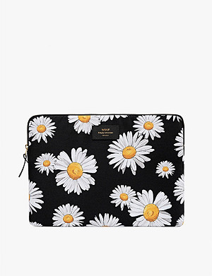 WOUF Daisy-print canvas laptop case 13""