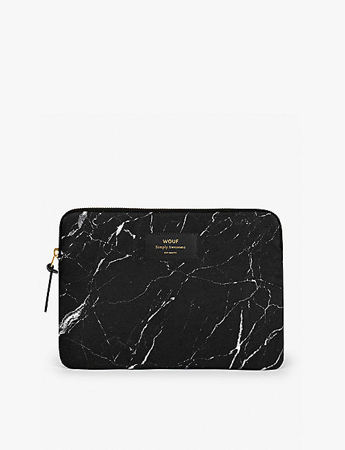 WOUF Marble-print canvas iPad case 17.85cm x 25cm