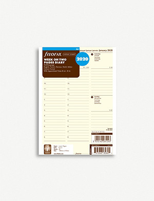 FILOFAX Week on two pages multilingual 2020 diary inserts A5