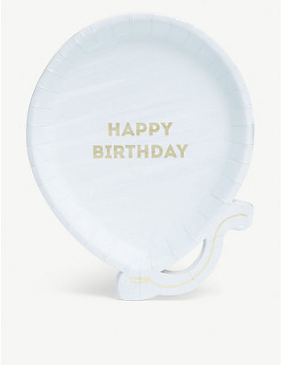 TALKING TABLES: Birthday balloon paper plates set of 12 19cm